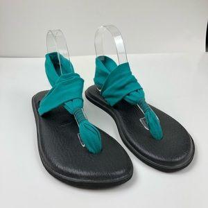Sanuk Yoga Sling Sandals Teal Black Size 10 P